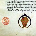 Leonardo bruni, commentarius rerum suo tempore gestarum, firenze 1462 (bml, pluteo 65.18) 03 stemma medici con anello di diamante.jpg