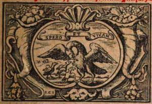 Willem Lesteens - Printer's mark of Willem Lesteens from the title page of Massaeus Potvliet, Soete bemerckinghen (1656)