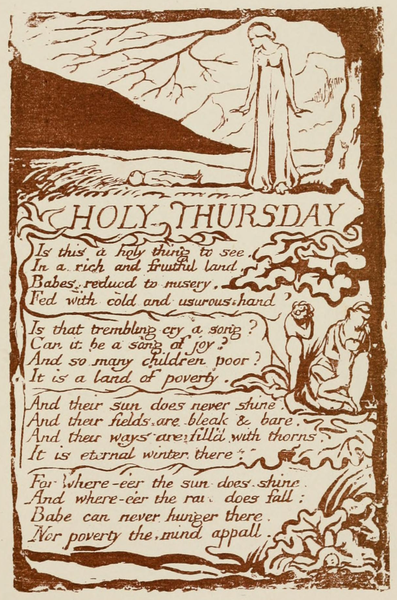 an analysis of songs of innocence and experience by william blake Blake: songs of innocence & experience a song divine image to mercy, pity, peace, and love, all pray in their distress, and to these virtues of delight return their thankfulness for mercy, pity, peace, and love, is god our father dear and mercy, pity, peace, and love.