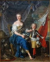 Mademoiselle de Lambesc, de la maison de Lorraine, sous la figure de Minerve, armant et destinant monsieur le comte de Brionne, son frère, au métier de la guerre