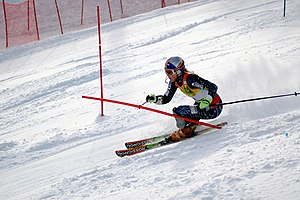 Lindsey Vonn - Lindsey Vonn during a slalom race in Aspen in November 2006