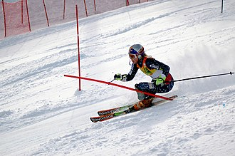 Lindsey Kildow during a slalom race in Aspen in November 2006 Lindsey Kildow Aspen.jpg