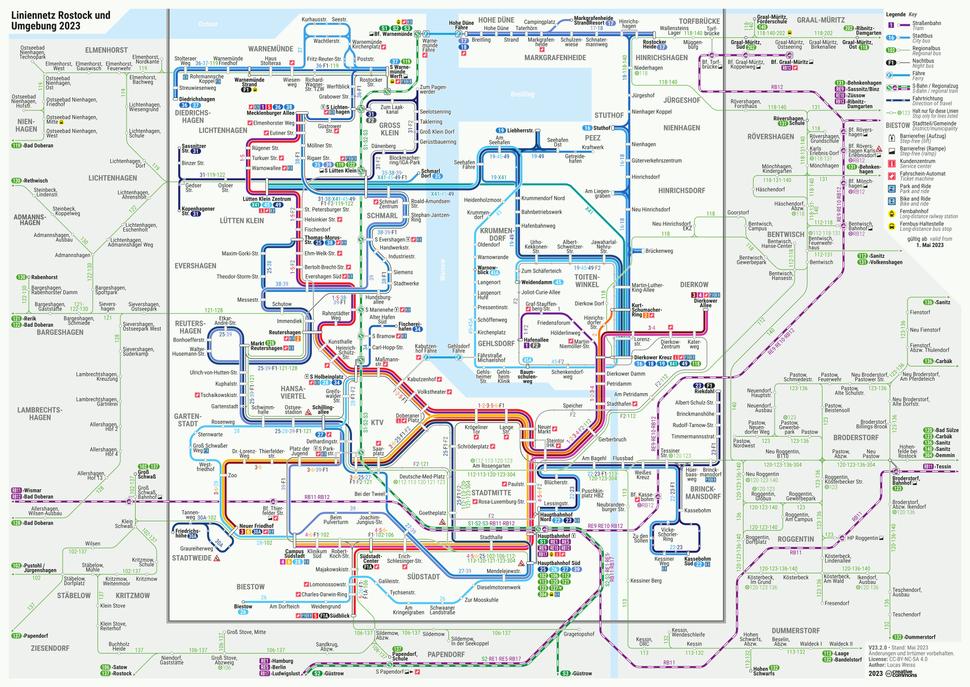 Liniennetz Rostock und Umgebung