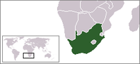 A map showing the location of South Africa