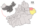 Location of Barkol within Xinjiang (China).png