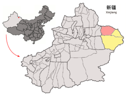 Location of Barköl County (red) within Hami City (yellow) and Xinjiang