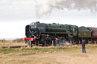 North Norfolk Railway - Image: Locomotive 70013Oliver Cromwell NNR11March 2010
