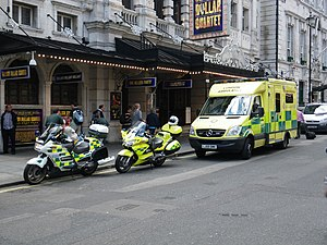 London Ambulance Service - LAS vehicles on the scene of an emergency incident in central London.