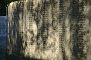 Polish War Memorial - Some of the names at the rear of the monument