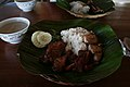 Lunch with banana leaves as plates (Philippines).jpg