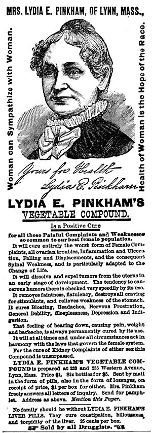 Lydia Pinkham - 1882 ad for Lydia Pinkham's Vegetable Compound