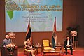 M. Hamid Ansari addressing at the Chulalongkorn University, in Bangkok,. The Minister of Information and Communications Technology, Thailand, Dr. Uttama Savayana and the Chairperson of Chulalongkorn University.jpg