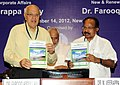 "M. Veerappa Moily and the Union Minister for New and Renewable Energy, Dr. Farooq Abdullah releasing the report on ""Green Energy Corridors"" for transmission infrastructure requirement and other related services for.jpg"