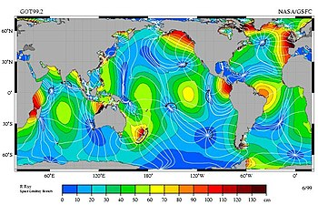 Map showing relative tidal magnitudes of different ocean areas。