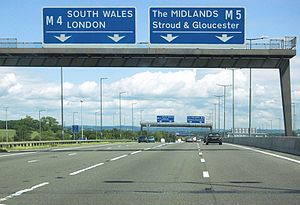 Roads in the United Kingdom - Regional destinations, on the M5 motorway with South Wales, the Midlands and London in capitals, although London is a not a regional destination, therefore should not be in capitals