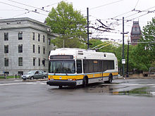 MBTA 71 trolleybus leaves Harvard.jpg