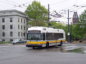 Trolleybuses in Greater Boston - Image: MBTA 71 trolleybus leaves Harvard