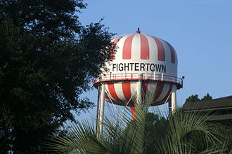 """Marine Corps Air Station Beaufort - The watertower on the Air Station emblazoned with the base nickname """"Fightertown."""""""