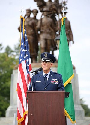 John S. Tuohy - Brigadier General John Tuohy, Commander, Washington Air National Guard, reading the Governor's proclamation on the Washington State Capitol lawn during a ceremony to commemorate National POW/MIA Recognition Day, Olympia, Washington, 18 September 2015.