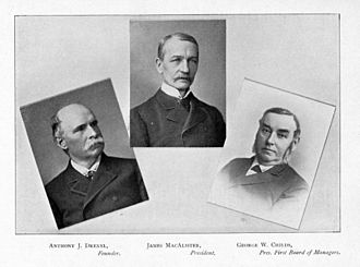 James A. MacAlister - President MacAlister (center) with Anthony Drexel (left) and George W. Childs (right).