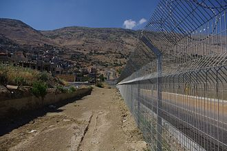 Majdal Shams - The barrier between the Israeli-occupied portion of the Golan Heights and Syrian controlled territory