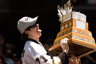 2009 Stanley Cup Finals - Malkin, during the Penguins' victory parade, became the first Russian player to win the Conn Smythe Trophy.