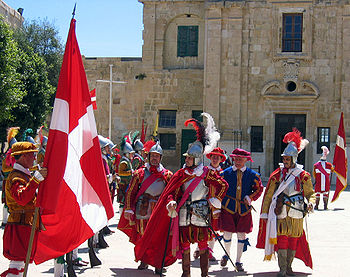 Re-enactment of 16th century military drills conducted by the Knights of St. John. Fort Saint Elmo, Valletta, Malta, May 8, 2005.