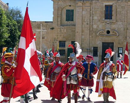 Re-enactment of 16th-century military drills conducted by the Knights. Fort Saint Elmo, Valletta, Malta, 8 May 2005. Malta Knights.jpg
