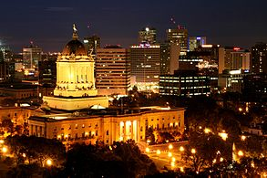 Skyline of Winnipeg at night