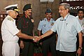 Manohar Parrikar being received by the three Service Chiefs Admiral Sunil Lanba, General Dalbir Singh and Air Chief Marshal Arup Raha, at the Annual Unified Commanders' Conference (UCC) for Tri-Services Commanders'.jpg