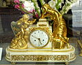 Mantel clock with Cupid offering dove to a languishing woman, 7 day movement, dial marked Paris - Stockholm, Sweden - DSC00739.JPG