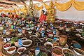 Many trays with food offered to the monks in the Buddhist temple of Don Det Laos.jpg