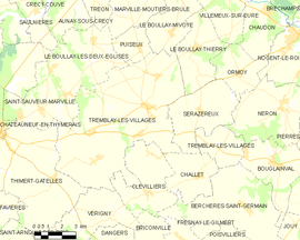 Mapa obce Tremblay-les-Villages