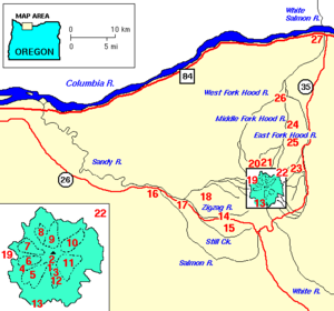 Sandy River (Oregon) - Map of the Mount Hood area; Little Sandy and Bull Run rivers are absent. They flow into the Sandy from the north, just downstream of the confluence of the Salmon and Sandy rivers.