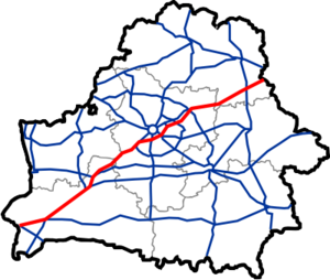 M1 highway (Belarus) - Image: Map of Automobile Roads in Belarus M1