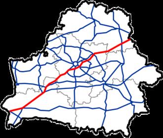 M1 highway (Belarus) - Image: Map of Automobile Roads in Belarus M1