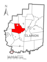 Map of Clarion County, Pennsylvania highlighting Beaver Township