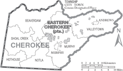 Map of Cherokee County North Carolina With Municipal and Township Labels.PNG