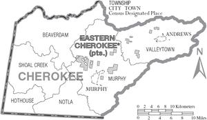 Cherokee County, North Carolina - Map of Cherokee County, North Carolina With Municipal and Township Labels