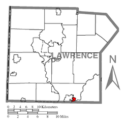 Location of Ellport in Lawrence County