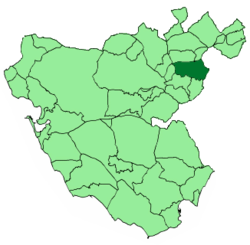 Location of Grazalema in the province of Cádiz.