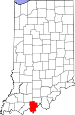 Map of Indiana highlighting Perry County.svg