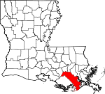 State map highlighting Lafourche Parish