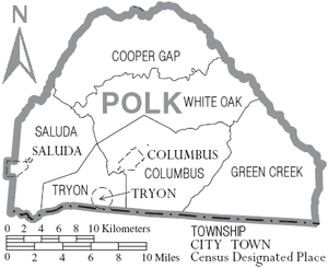 Polk County, North Carolina - Map of Polk County, North Carolina With Municipal and Township Labels