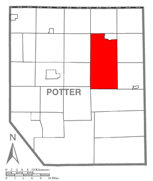 Ulysses Township, Potter County, Pennsylvania - Image: Map of Potter County, Pennsylvania Highlighting Ulysses Township