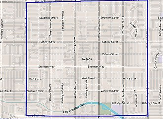 Reseda, Los Angeles - Image: Map of Reseda neighborhood, Los Angeles, California
