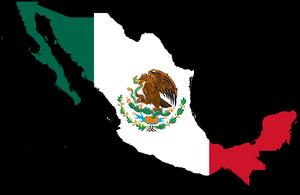English: Mexico Map with Flag Español: Mapa de...