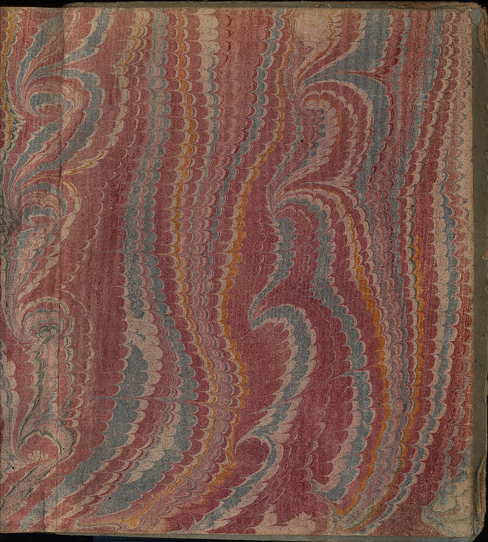 Marbled endpaper, between 1720 and 1770, from Quintilian ed. Burmann, Leiden 1720