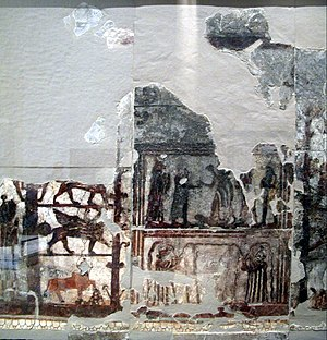 Mural - The 18th-century BC fresco of the Investiture of Zimrilim discovered at the Royal Palace of ancient Mari in Syria