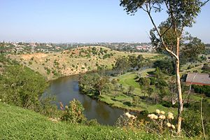 Essendon West, Victoria - View of city skyline and Maribyrnong River at Essendon West